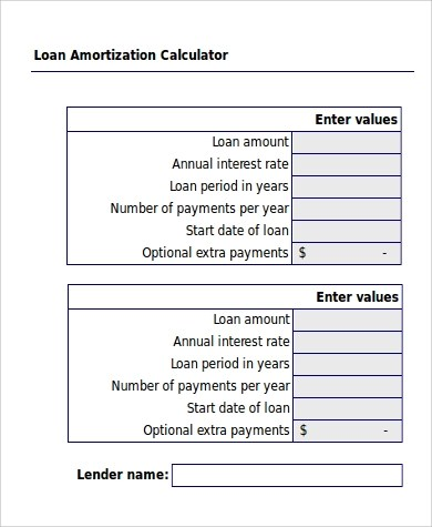 6+ Amortization Excel Samples | Sample Templates