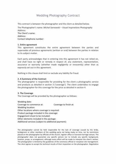 10+ Wedding Planner Contract Template - PDF, Word