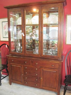 Lighted Shaker style Cherry China Cabinet