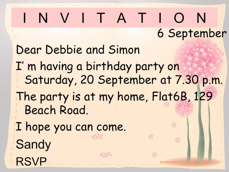 Invitation letter for birthday party to friend in english informal invitation letter birthday party invitationswedd org stopboris Images