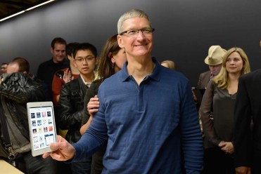 Tim Cook with the iPad mini.