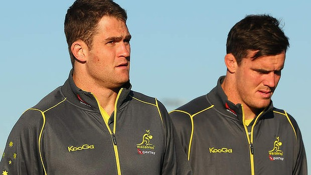 James Horwill (L) with fellow second-row partner Kane Douglas.