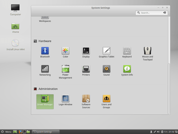linux mint system settings