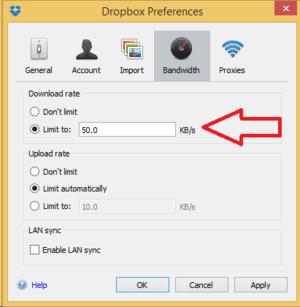 dropbox settings preferences bandwidth limit