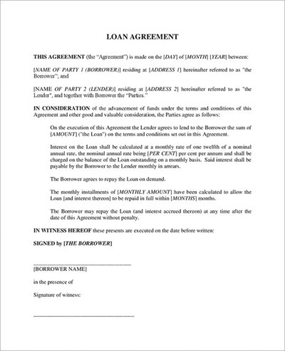 Loan Contract Template – 20+ Free Word, PDF Documents Download | Free & Premium Templates