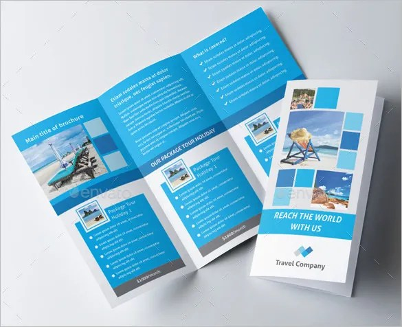48  Travel Brochure Templates   Free Sample  Example Format Download     Blue Coloured Travel Trifold Brochure