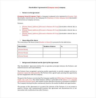 18+ Shareholder Agreement Templates - Free Word, PDF Format Download | Free & Premium Templates
