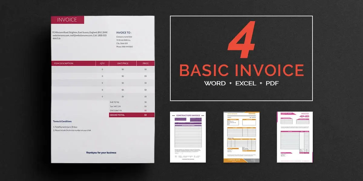 Invoice Template   16  Word  PSD Format Download   Free   Premium     Basic Invoice Templates