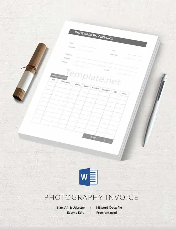 14  Free Invoice Templates   Business  Service  Proforma  Blank     photography