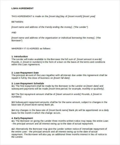 11+ Loan Contract Templates - Docs, Word   Free & Premium Templates