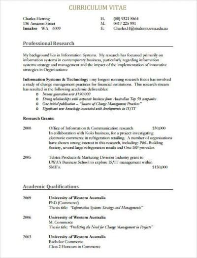 8+ Sample IT Curriculum Vitae Templates - PDF, DOC   Free & Premium Templates
