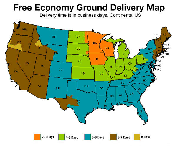 Free Economy Ground Shipping Map