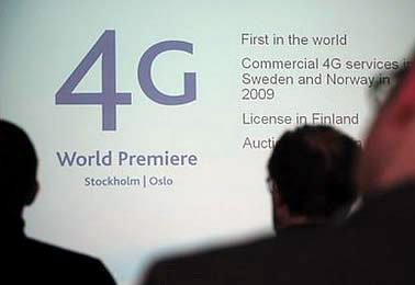 People attending a 4G telecommunication connection conference at  the Telia headquarters. 4G is off to a slow start.