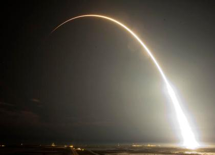 The Falcon 9 SpaceX rocket is seen during a time exsposure as it lifts off from space launch complex 40 at the Cape Canaveral Air Force Station
