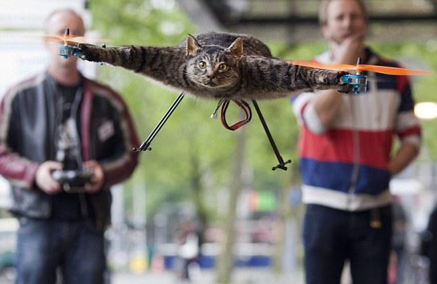 The Orvillecopter by Dutch artist Jansen flies in central Amsterdam as part as the KunstRAI art festival