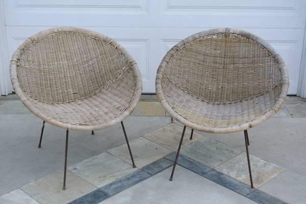Mid Century Modern WICKER Pod Chairs  75