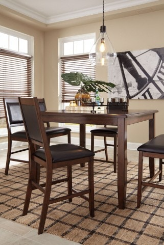 iteminformation two seat kitchen table Ashley Meredy Brown 5pc Counter Height Dining Set 2 Double Seat Stools 2 Single