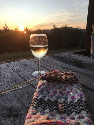 Knitting on the porch, Vermont sunset