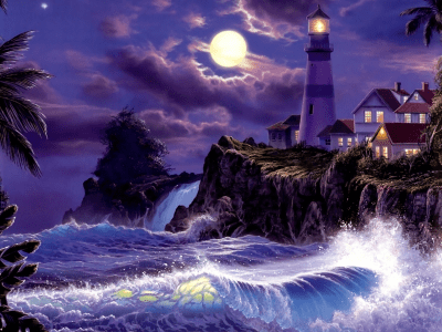 Lighthouse on Full Moon Night Wallpaper and Background ...