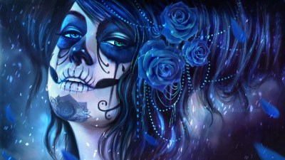 Girl with Dia de Los Muertos Make-Up and Roses Full HD Wallpaper and Background | 1920x1080 | ID ...