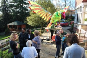 Giant puppet parrot at Nottinghamshire Hospice