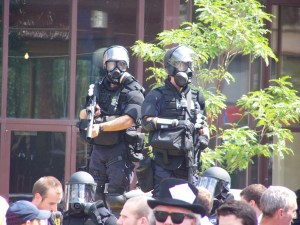 The riot gear makes people forget they're human too