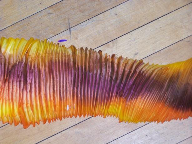 Shibori Died Silk prior to Pressing
