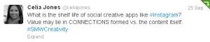 Social Media Week Chicago - Warhol Panel Celia Jones Tweet