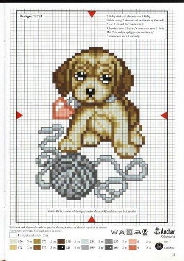 вышивка щенок