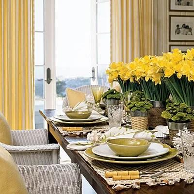 желтый цвет в сервировке стола
