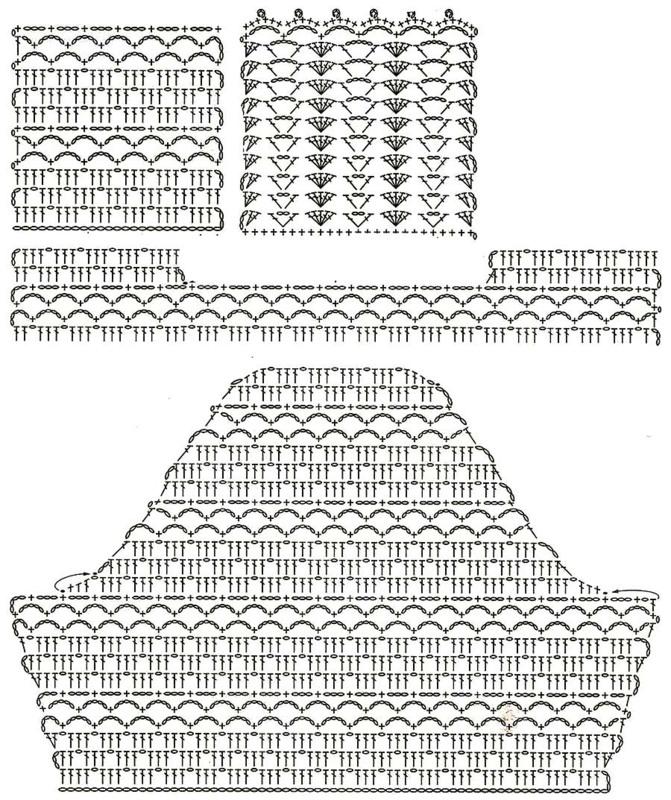 Вязание крючком схемы туники и жакеты