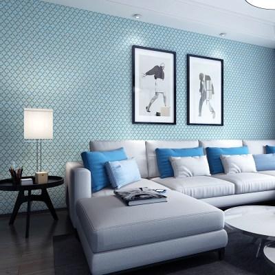 [USD 29.56] Simple plaid light blue plain solid color non-woven wallpaper living room bedroom ...