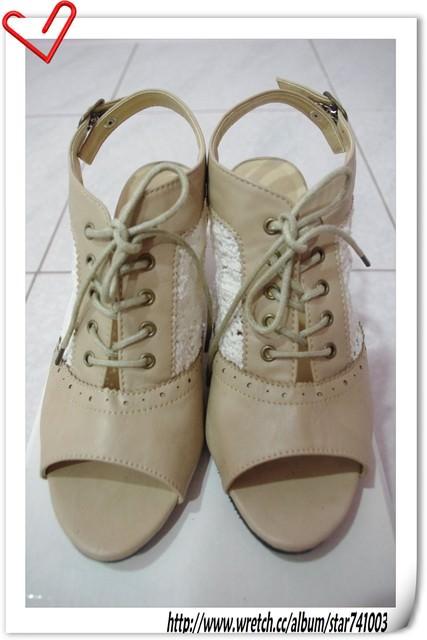 【鞋子】秋天色系蕾絲綁帶楔型鞋