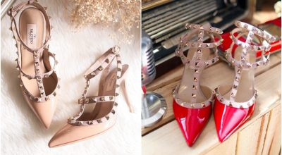 【精品】Valentino Rockstud pump鉚釘鞋收藏/紅色65mm&裸色100mm