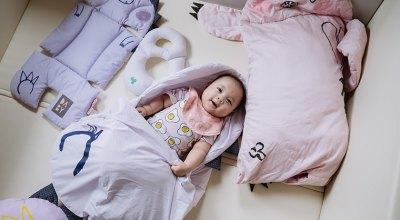 【育兒】顏色柔柔可愛的韓國Daby小怪獸嬰兒頸枕.幼兒造型枕.點點舒眠毯.兒童睡袋