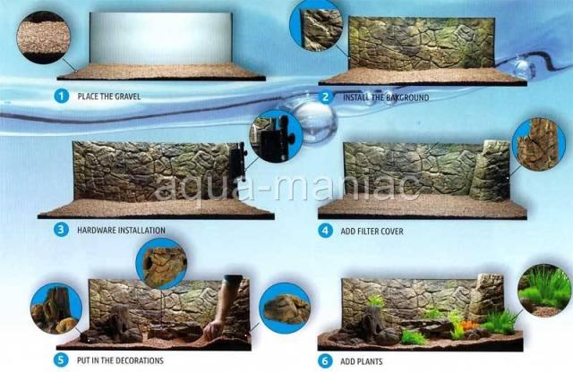 Thin aquarium background for tropical fish tanks in grey edition for
