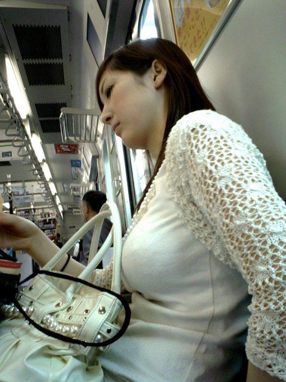 【素人盗撮】電車内で着衣巨乳を見たらチンコ勃起して隠すの大変だわwwwwww