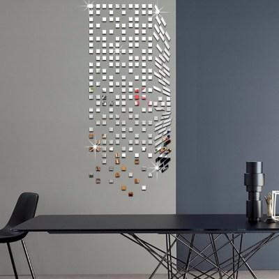 Mirror Mosaic Background Wall Stickers Home Decor DIY Creative Environmental Protection Wall ...