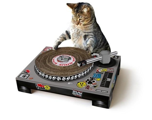 Este juguete *DJ Kitty Cat* tocadiscos para arañar por 28,99 $  .