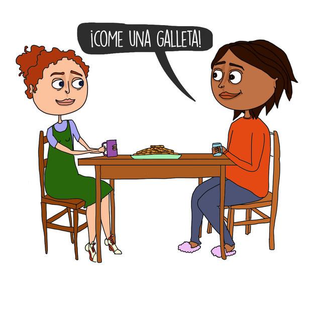Comer con tu nueva amiga:
