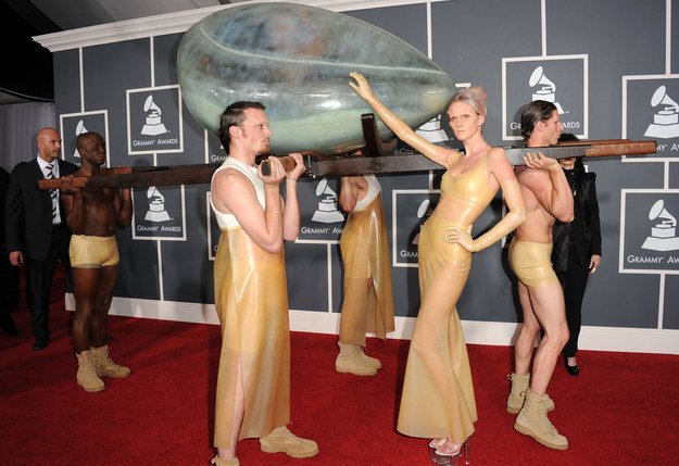 Lady Gaga was still into weird shit like riding an egg into the Grammys.