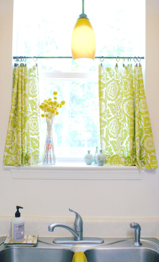 If you have curtains in your kitchen, toss them in the washer.