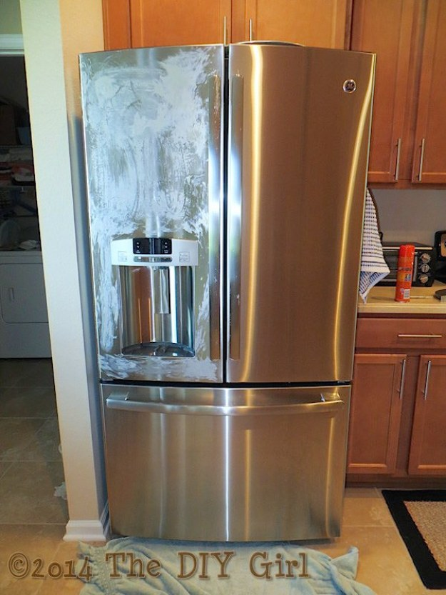 If you have a stainless steel fridge or other appliances, polish them with Pledge.