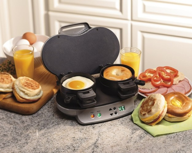 A Hamilton Beach dual breakfast sandwich maker that pops out two made-to-order BECs in five minutes flat.