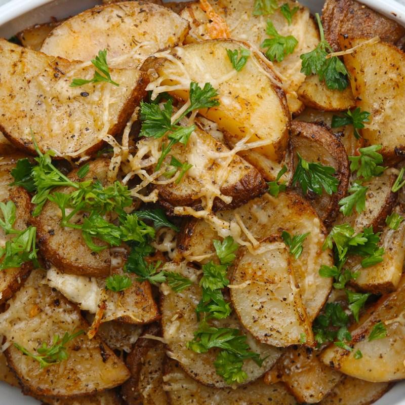 Large Of Garlic Parmesan Potatoes
