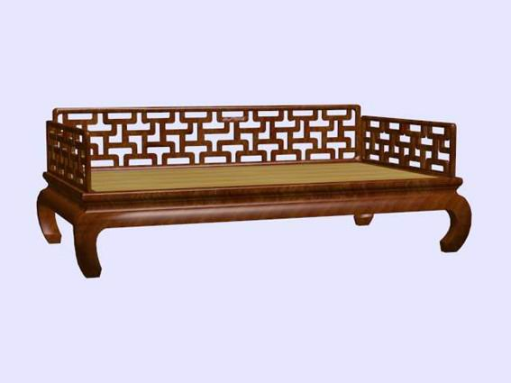 Chinese Antique Furniture Settee Bench 3D Model Wooden58
