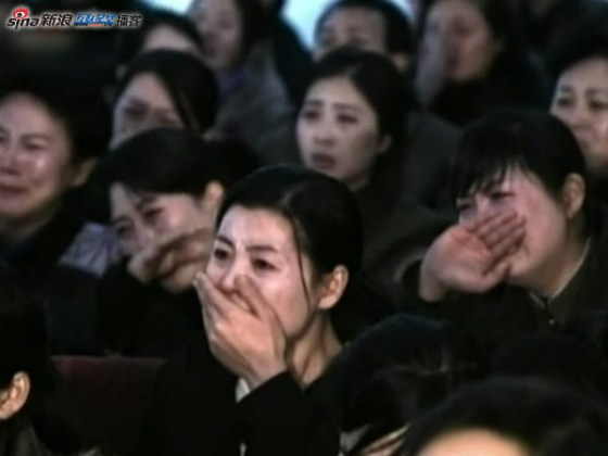 A North Korean crowd shown on DPRK state media crying bitterly and mourning the death of leader Kim Jong-il.