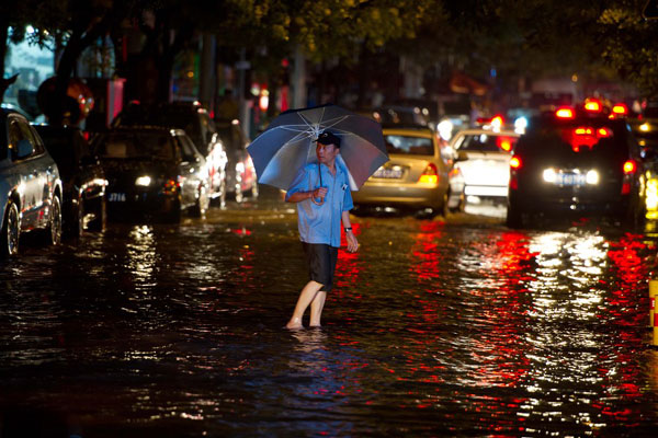 The largest rainstorm in 61 years flooded Beijing in July 2012.