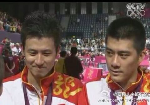 Chinese celebrity look-alikes: Olympic champions Cai Yun (Left) and Fu Haifeng