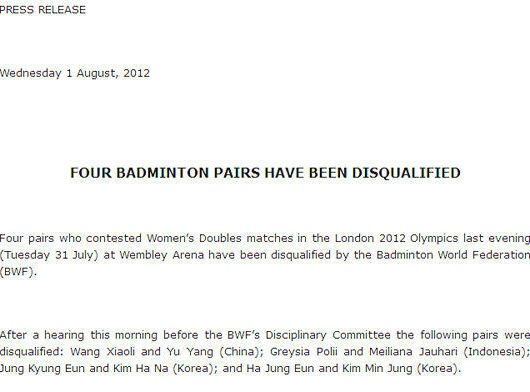 Press Release about four Badminton pairs being disqualified from the London Olympics.